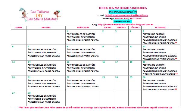 CALENDARIO DE TALLERES DIY FEBRERO