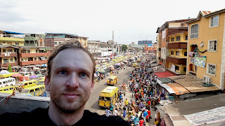 Me in front of the street in Lagos Island