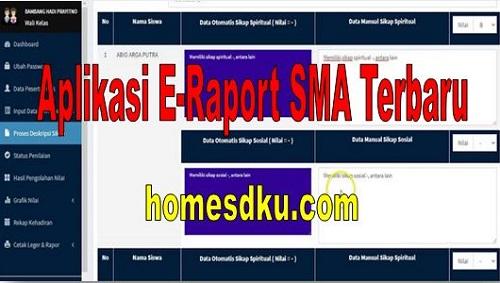 Aplikasi E-Raport SMA Terbaru