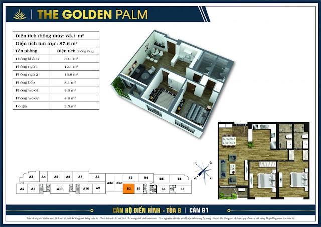 Thiết kế căn hộ B02 tòa B chung cư THE GOLDEN PALM