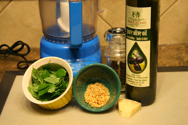 Making pesto: basil, toasted almonds, hard cheese, salt & pepper and extra olive virgin oil.