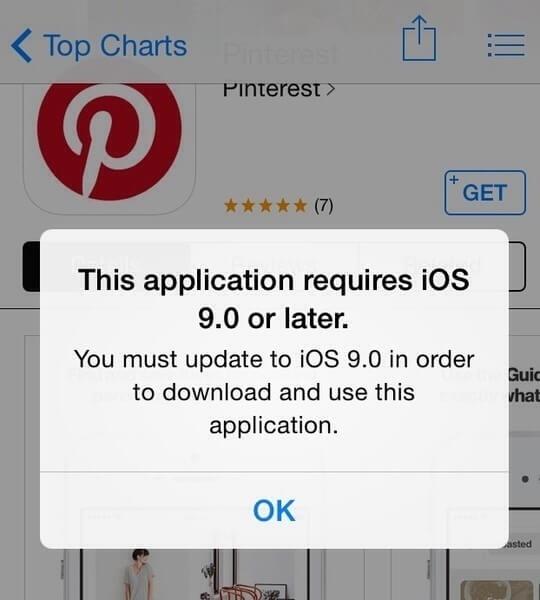 Pesan Di AppStore:Aplikasi ini membutuhkan iOS 8.2 atau yang lebih baru