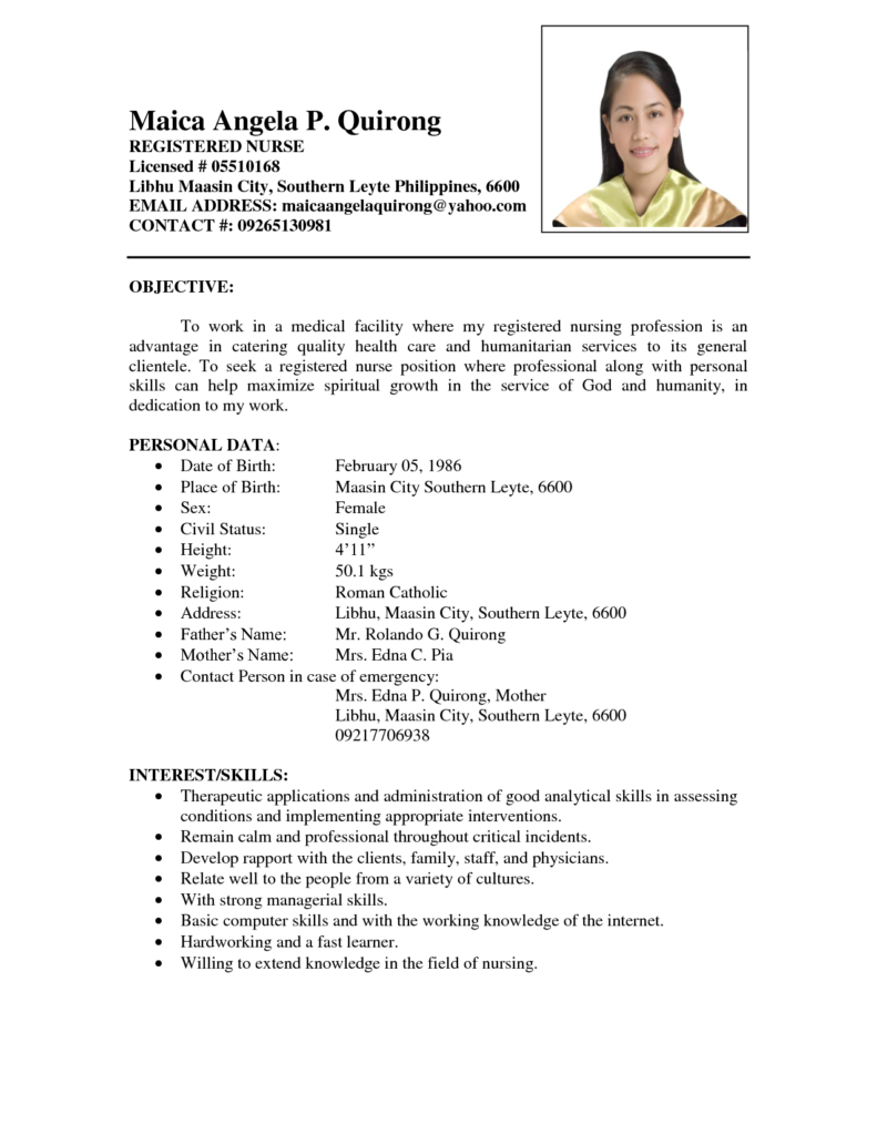 cv sample for nursing