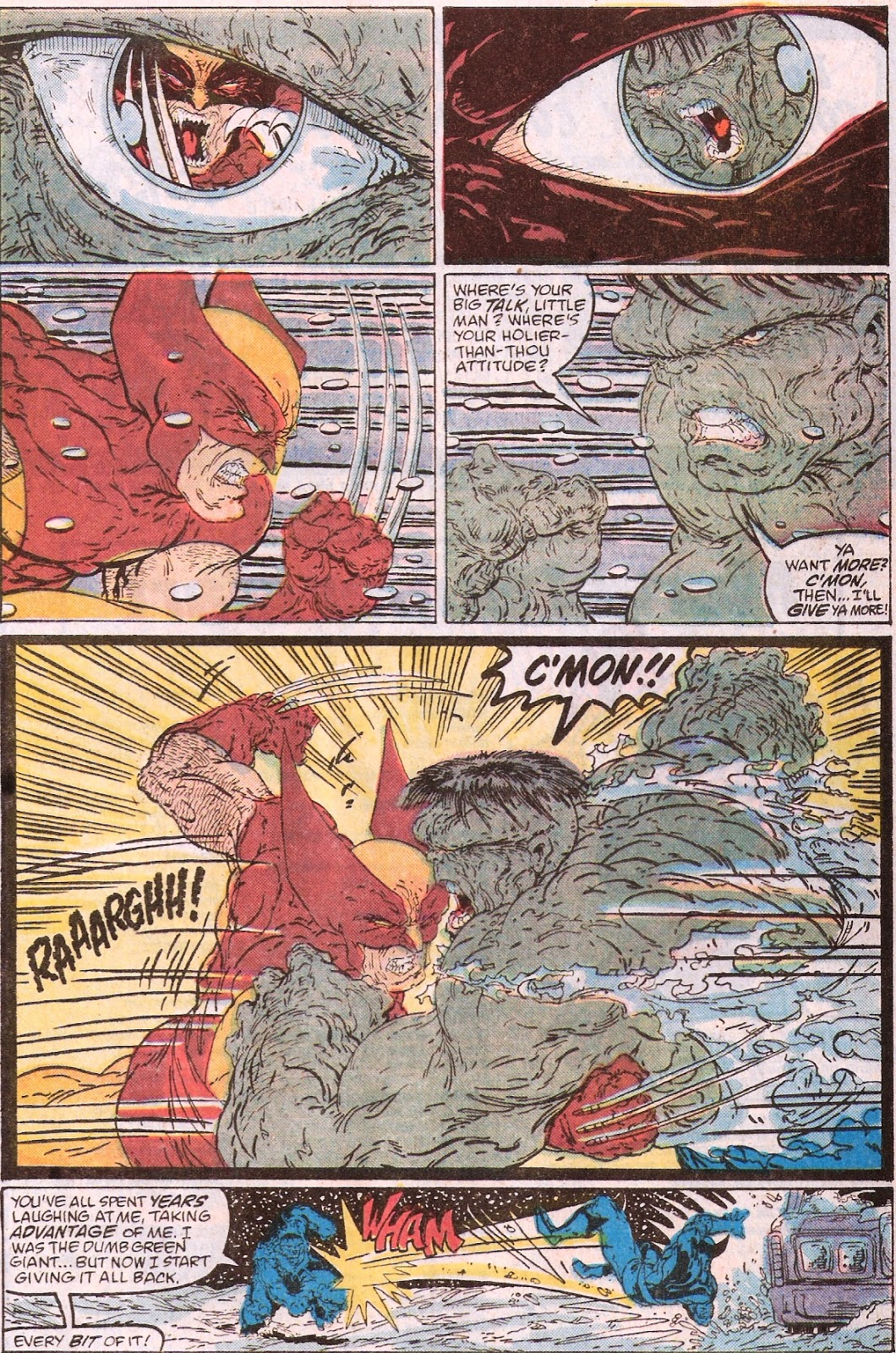 Bronze age babies july 2014 doug the hulk launches himself at wolverine but at the last instant logan whirls popping his claws and slashed the hulk across his right arm fandeluxe Choice Image