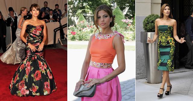 Ева Мендес в платьях с принтом