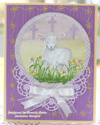 ODBD The Shepherd, ODBD Custom Little Lamb Die, ODBD Custom Doily Dies, ODBD Custom Double Stitched Circles Dies, ODBD Pastel Paper Pack, Card Designer Beverly Polen