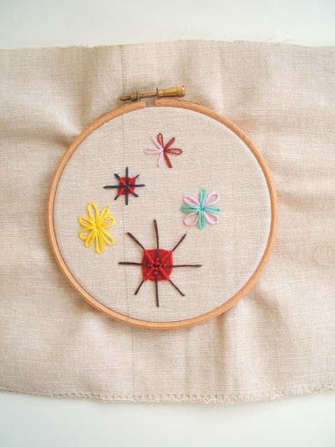 embroidery hoop used for practising web stitch