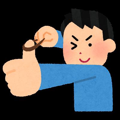 輪ゴムを飛ばす人のイラスト(親指)