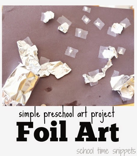 preschool process art with foil