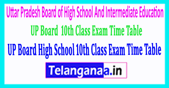 UP Board SSC Uttar Pradesh High School 10th Class Exam Time Table 2018