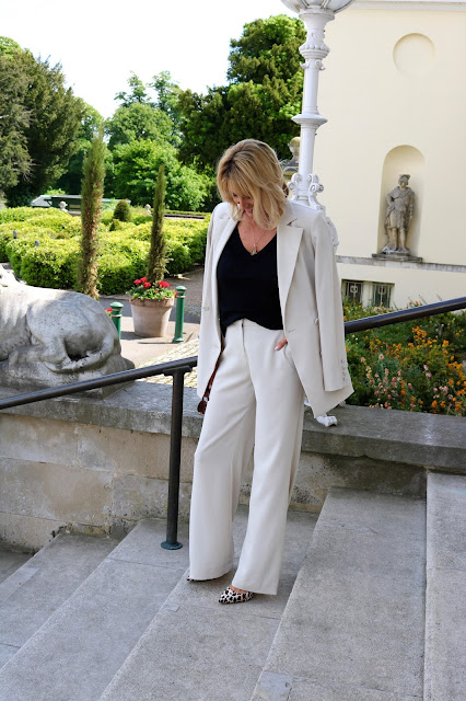 wide leg trouser suit with boxy jacket at Stoke Park