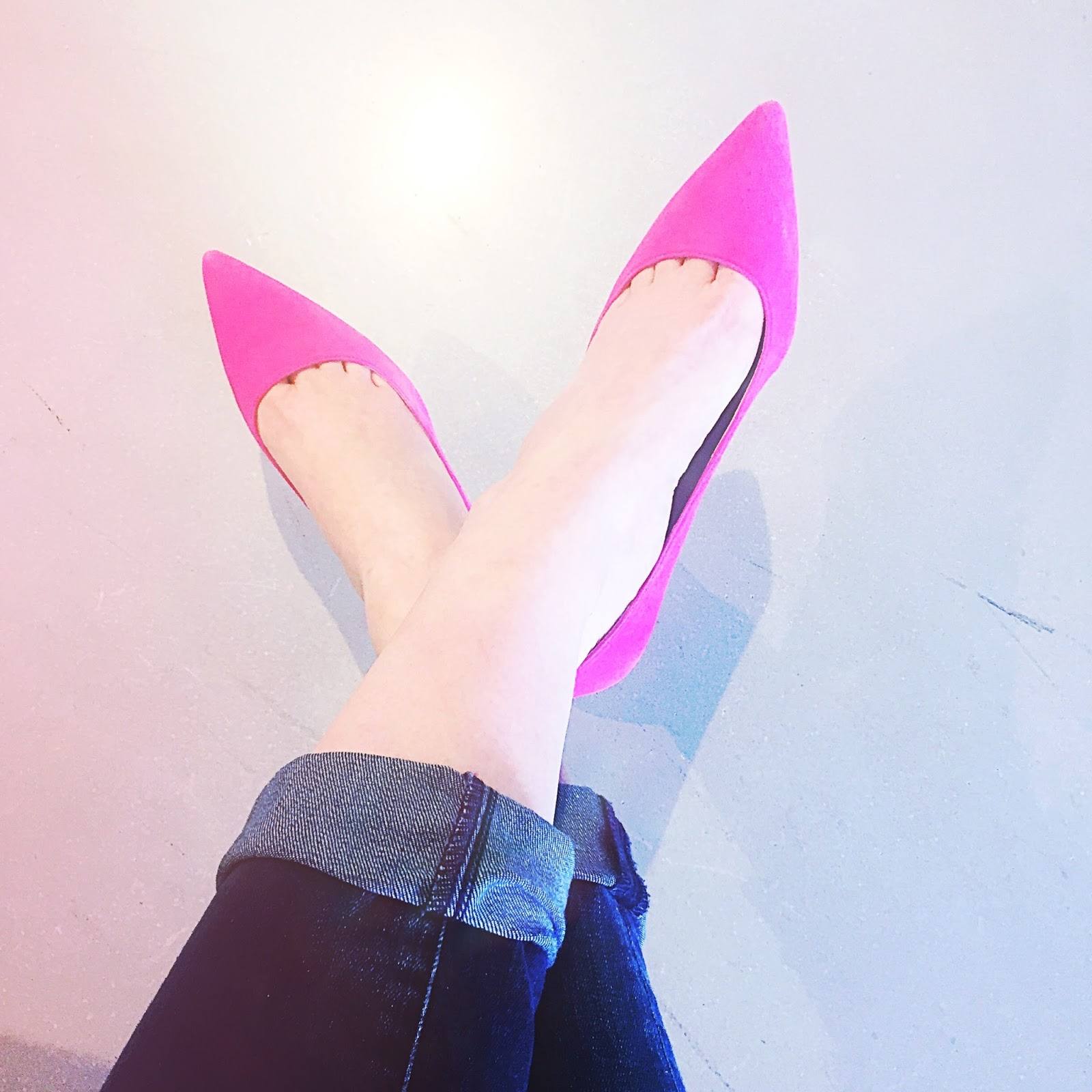 bright pink pumps