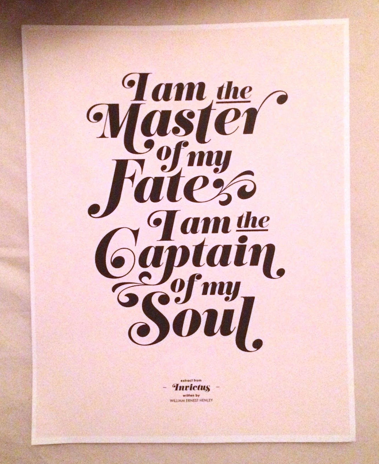 invictus william ernest henley Invictus, meaning unconquerable or undefeated in latin, is a poem by william ernest henley the poem was written while henley was in the hospital being treated for tuberculosis of the bone, also known as pott's disease.