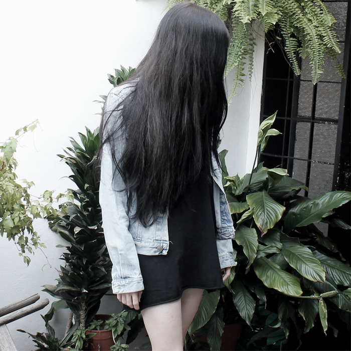 outfit, fashion, ootd, look, grunge, denim, black dress, chunky boots, lune, nocturne, blogger, black hair