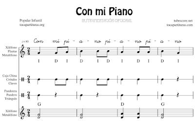 Con mi Piano Partitura Infantil de Xilófono & Metalófono Flauta Pequeña Percusión Pandero Pandereta Triángulo Claves Caja China...