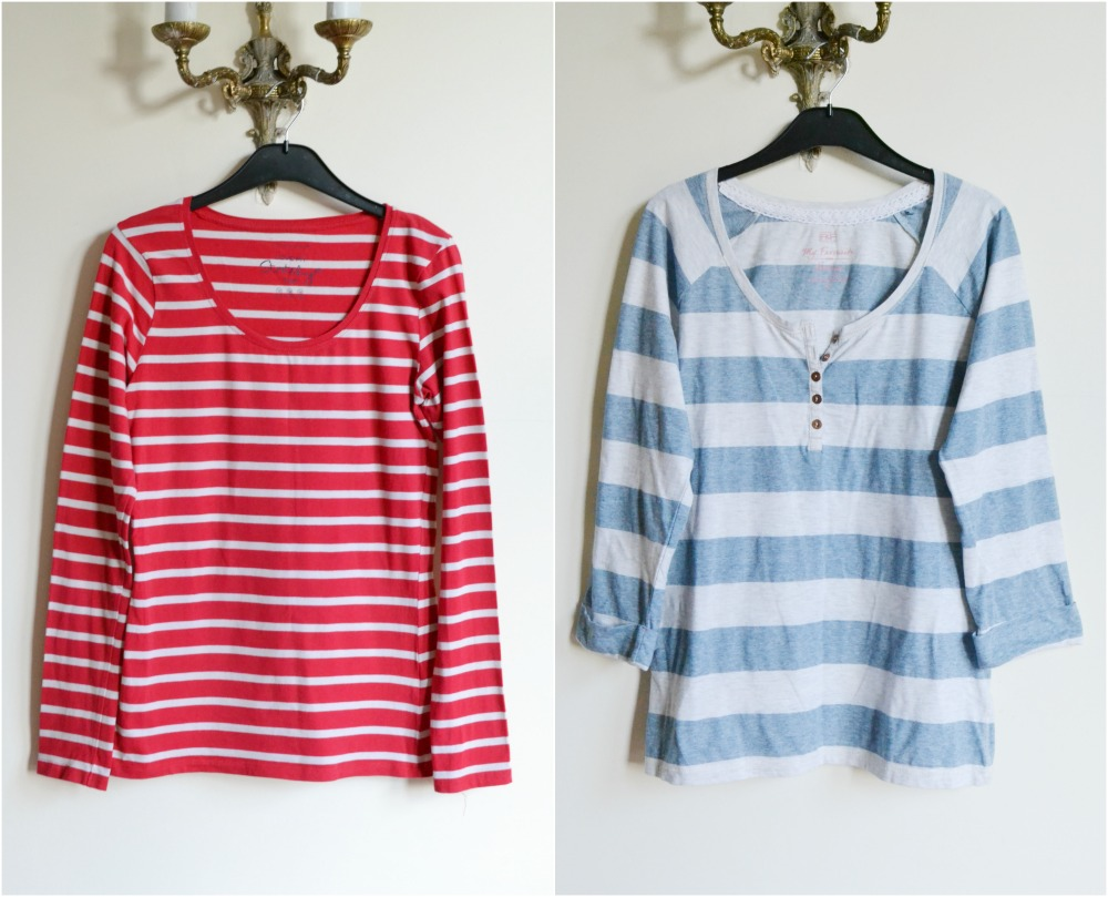 striped t-shirts charity shop primark F&S tesco red blue white sleeves buttons