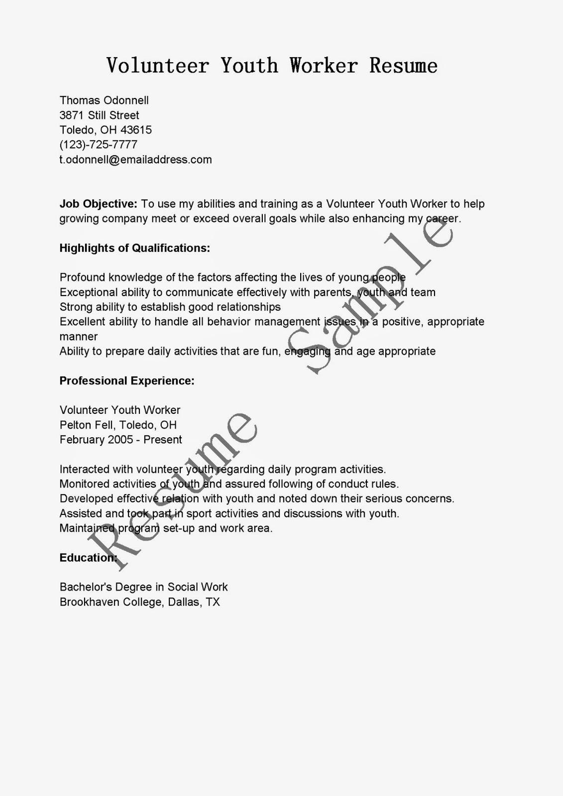 resume samples  volunteer youth worker resume sample
