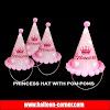 Topi Ulang Tahun Pom Pom PRINCESS (Ukuran Kecil)