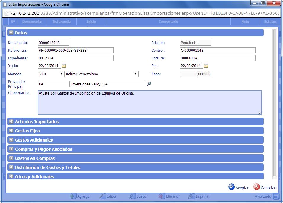 Formulario de Costos y Gastos de Importación - eFactory ERP/CRM