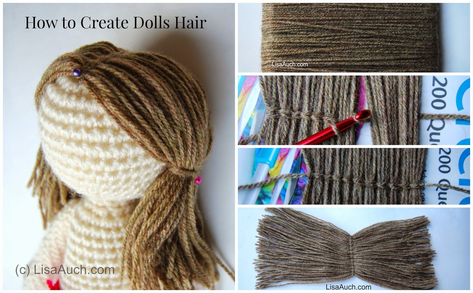 Make curly doll hair with yarn-tutorial youtube.