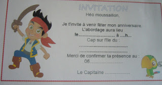Carte invitation gratuite Jake et les Pirates