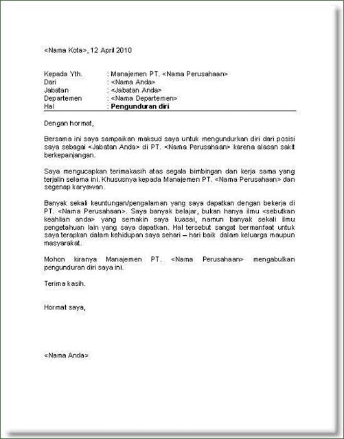 Contoh Surat Pengunduran Diri Kerja Karena Sakit ...