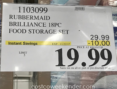Deal for the Rubbermaid Brilliance 18pc Food Storage Set at Costco