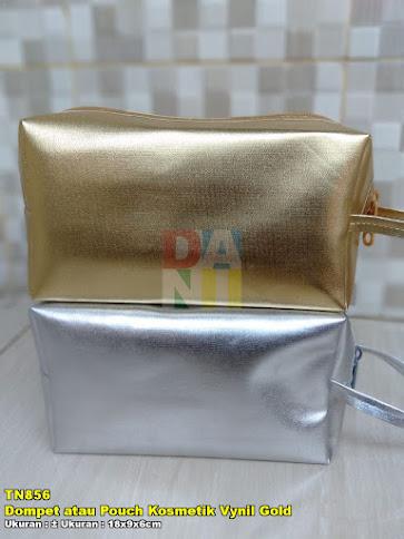 Dompet atau Pouch Kosmetik Vynil Gold