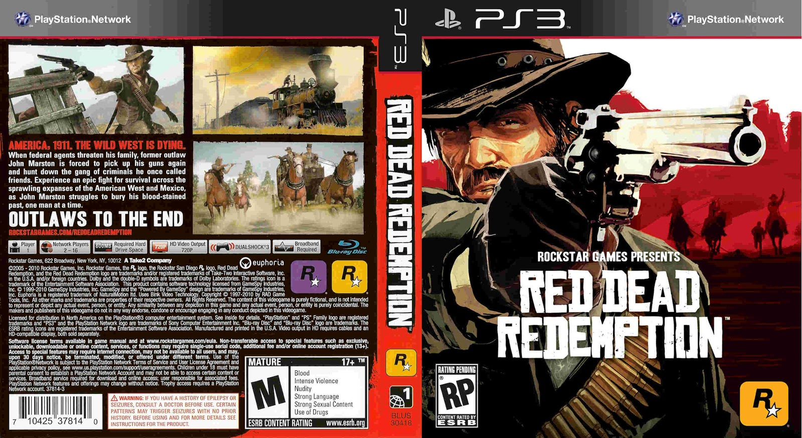 Tudo Gtba: Red Dead Redemption (2010) NTSC - Cover Game PS3