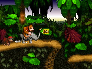 Donkey in sella al rinoceronte Rambi in ''Donkey Kong Country''