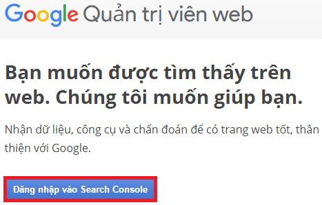 Đăng nhập vào Search Console