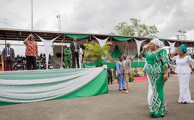 That awkward moment when Okorocha's wife salutes her own husband in public