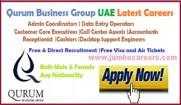 Latest jobs opportunity in UAE with benefits, Direct recruitment jobs in UAE, Jobs at Qurum Business Group UAE