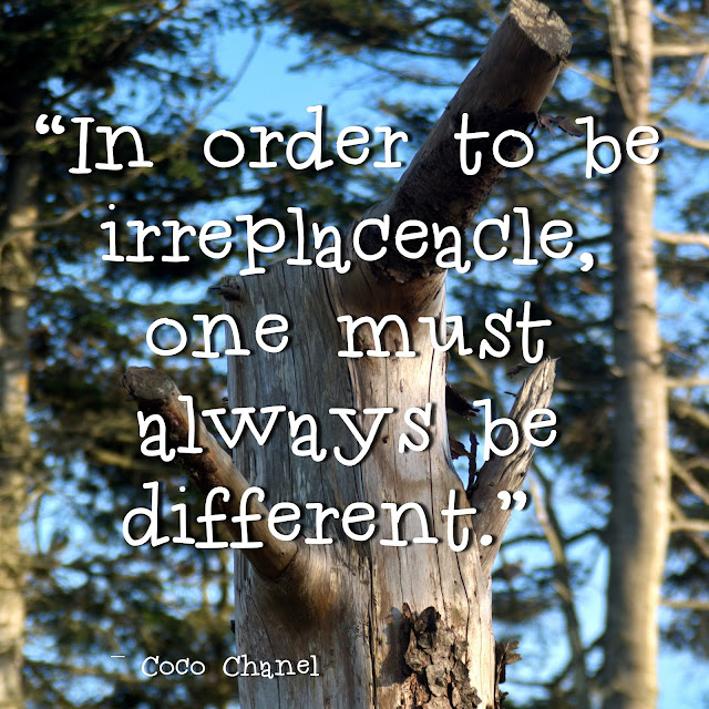 In order to be irreplaceable, onemust always be different. Coco Chanel