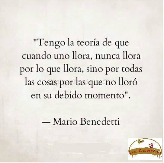 """""""Tenfo la teoría de que cuando uno llora, nunca llora por lo que llora, sino por todas las cosas por las que no lloró en su debido momento."""" Frases de Mario Benedetti"""