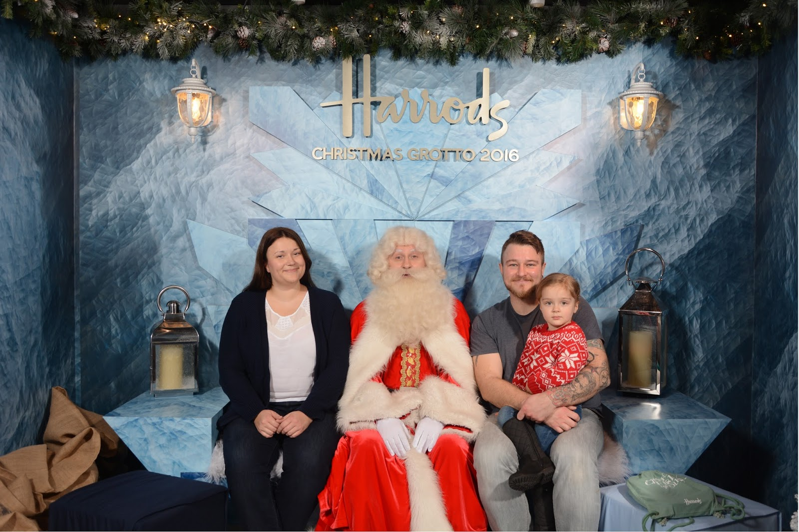 family picture with santa at harrods christmas grotto 2016