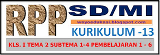 RPP KURIKULUM 13 SD/MI KELAS I TEMA 2 SUBTEMA 1- 4 PEMBELAJARAN 1 - 6 REVISI 2017