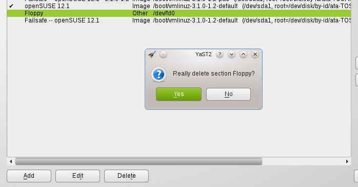 openSUSE 12 1 Modify or Remove Boot Menu (Grub)