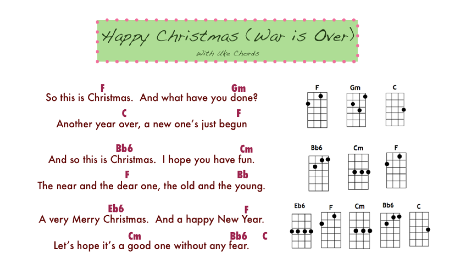 Happy Christmas War Is Over Chords.Wonderland Avenue Music Mr Ellis S And Ms Ryan S Classes