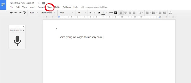 voice typing, google docs,