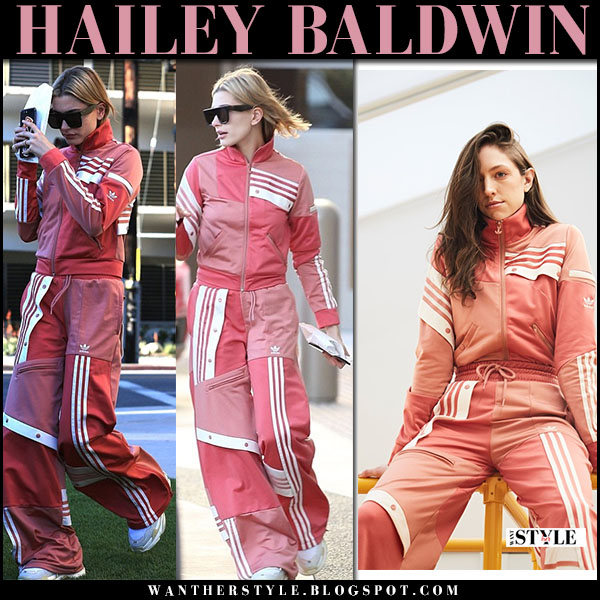 Hailey Baldwin in pink tracksuit adidas danielle cathari model street fashion march 24
