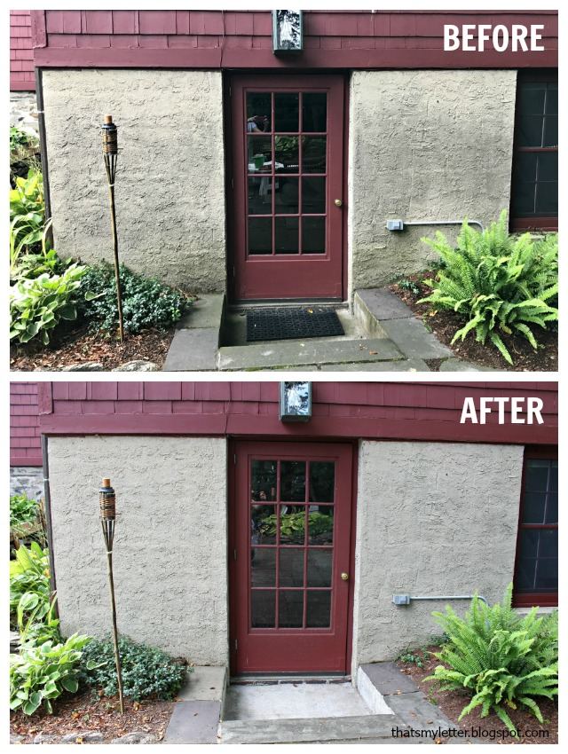 stucco wall pressure washed before after