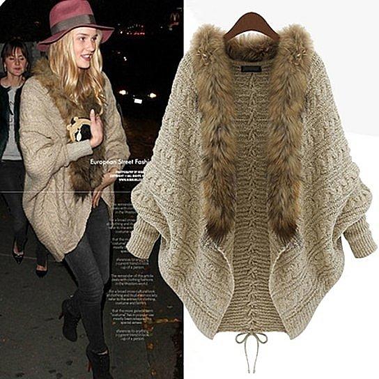 Women's Girls Batwing Knitted Sweater Faux Fur Collar Cardigan Coat