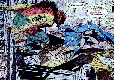 Batman #255, Batman chained on a building site as a werewolf prepares to attack, art by Neal Adams