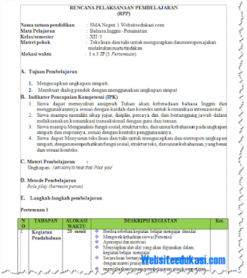 RPP Bahasa Inggris Kelas 12 SMA Semester 1 dan 2 K13 Revisi 2018