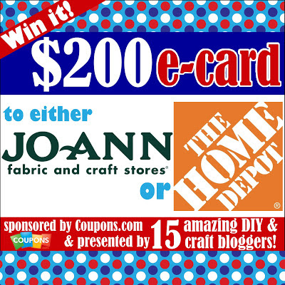 Enter to win $200 to JoAnns or The Home Depot!  Hurry and get in your entries today!