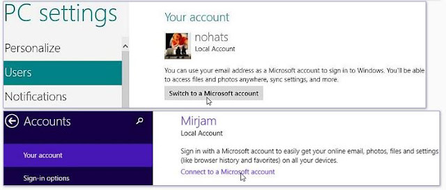Windows 8, paramètres PC, Utilisateurs. Pour convertir votre compte local en compte Microsoft, cliquez sur «Passer à un compte Microsoft».