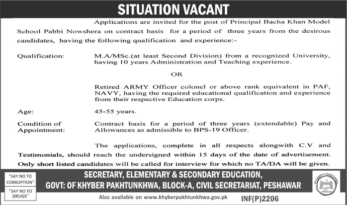 elementary & secondary education department kpk peshawar jobs