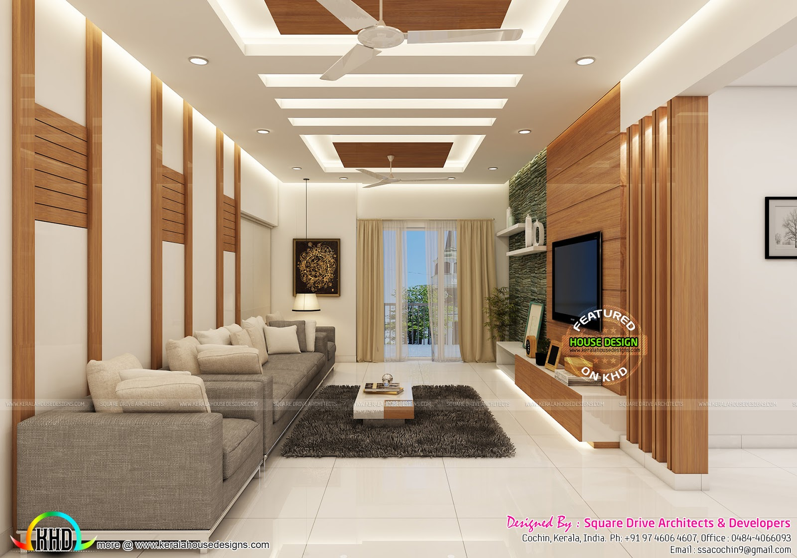 Modern Home Interiors Of Bedroom Dining Kitchen Kerala
