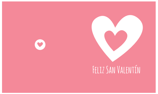 tarjeta color rosa Feliz San Valentín